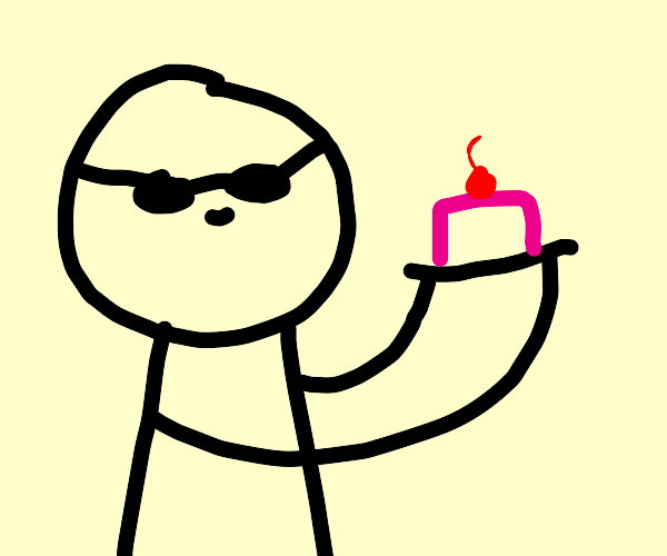 Blind man holding cake with cherry on top