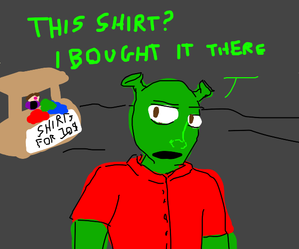 Shrek buying a red shirt for $10