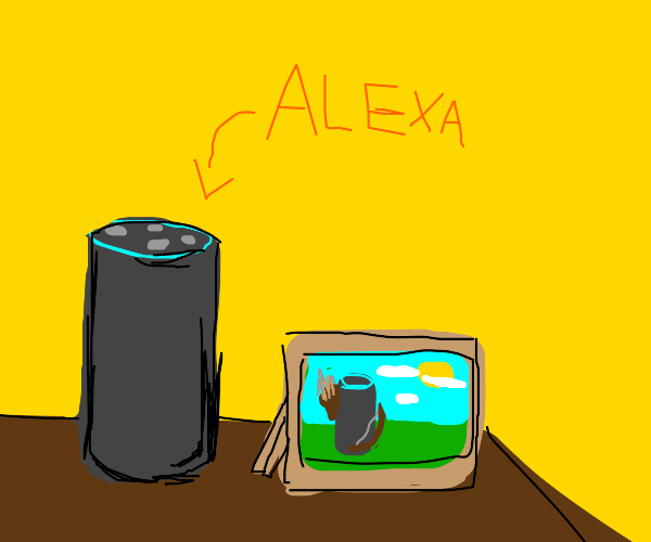 Alexa with a picture of Alexa with a bow