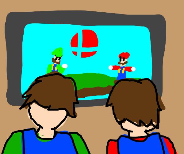 Luigi plays smash with his bro