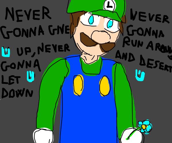 Luigi, holding a blue flower, talking