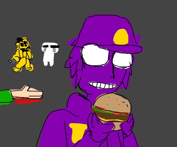 Purple Guy (FNaF) Eats hamburger