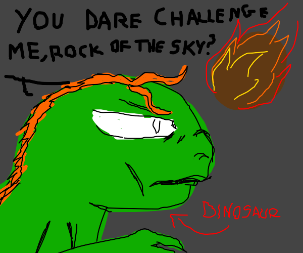 Anime Dinosaur Looks At The Meteor