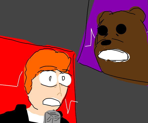 Rick and a Bear looks shockingly at something