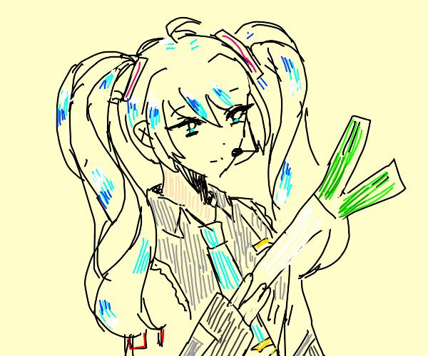 Hatsune Miku, leek in hand