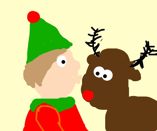 Santas elf kissing a deer