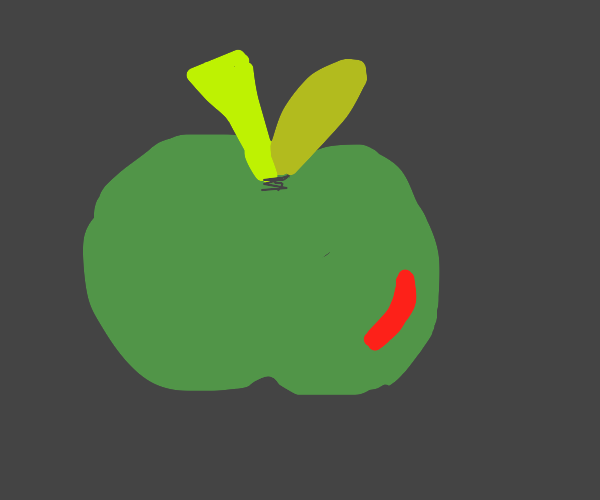 green apple with a little red on it