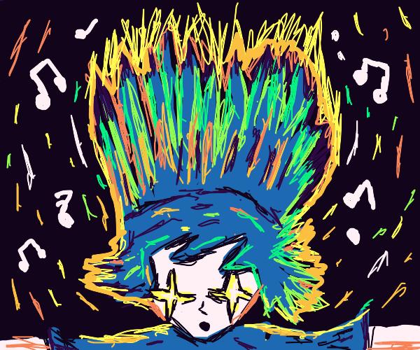 Amazed man journeys through music dimension