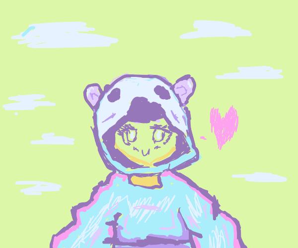 cute koala girl in a dress