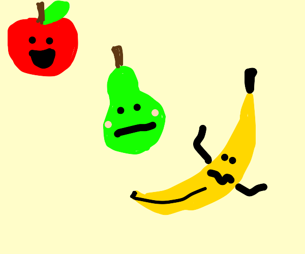 Happy apple. Embarrassed Pear. Confused Banan