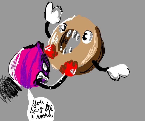 A bagel attacks an onion for saying the n wor