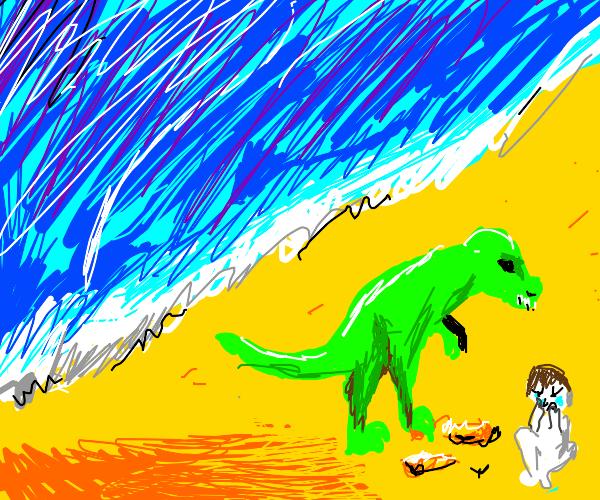 Dinosaur at the beach, ruining everyone's fun
