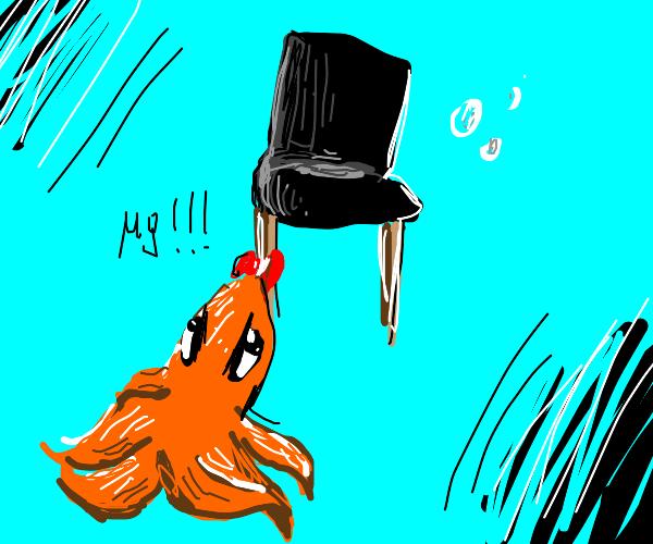 orange octopus likes c h a i r