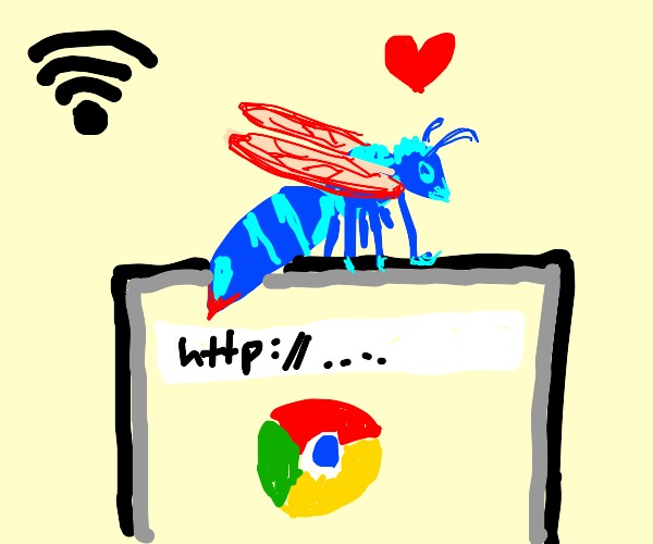 Blue Wasp loves the internet