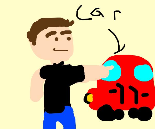 Guy pointing at a car