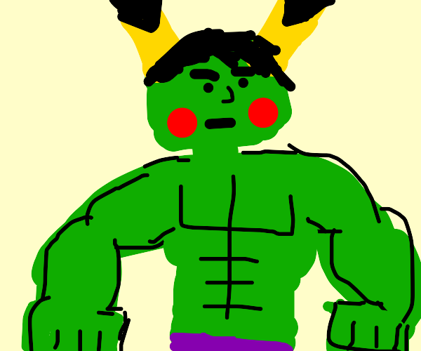 The Hulk (green) with Pikachu Ears and Dots