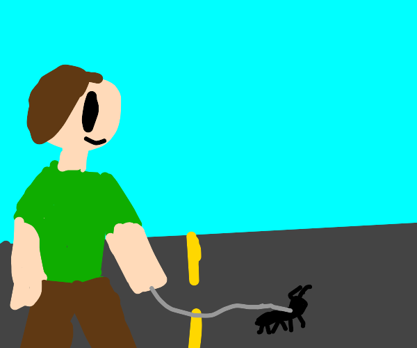 guy walking ant in middle of road