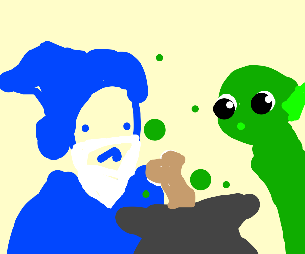 Blue Wizard and green elf add bone to potion