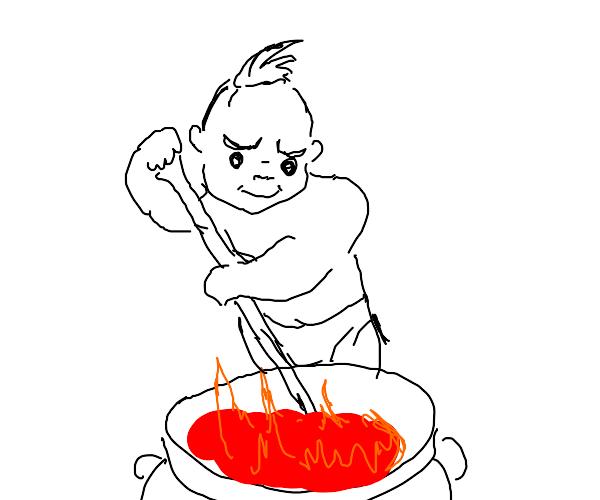 Baby stirring lava in a cauldron