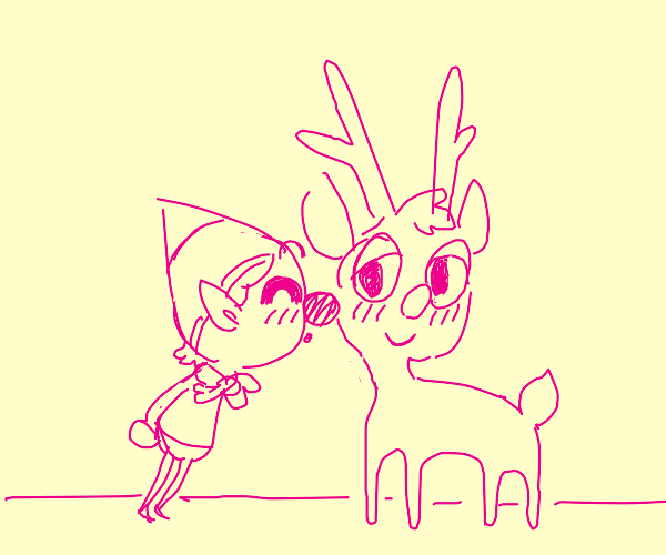 elf giving a reindeer a lil kiss