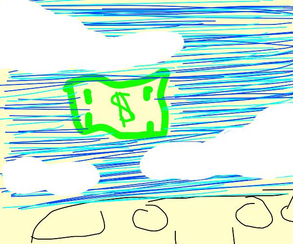 One dollar bill floating through the air