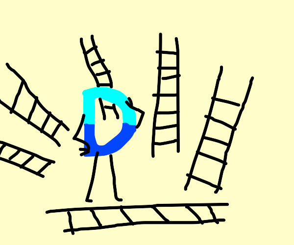 Drawception D surrounded by ladders