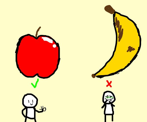 apple good, banana lame
