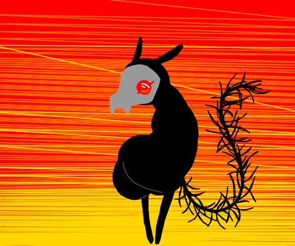 backwards demonic llama