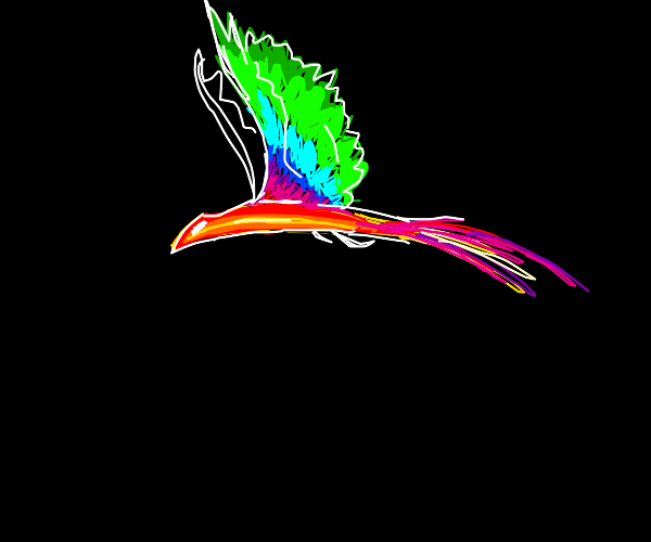 Red bird with rainbow wings squawks.