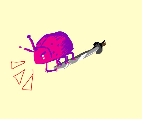 Pink beetle riding on a tiny Katana