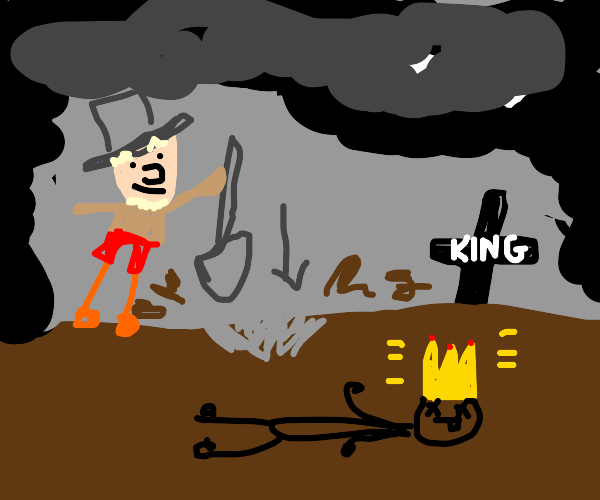 Gravedigger steals the late king's crown