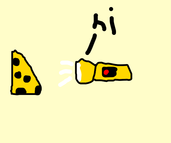 the flashlight says hi to the cheese