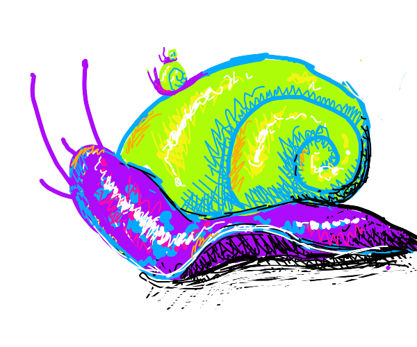 snail inside another snail while in a snail