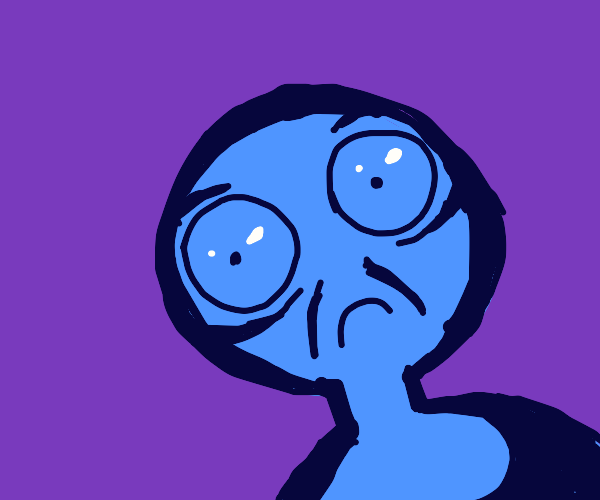 Shocked blue person