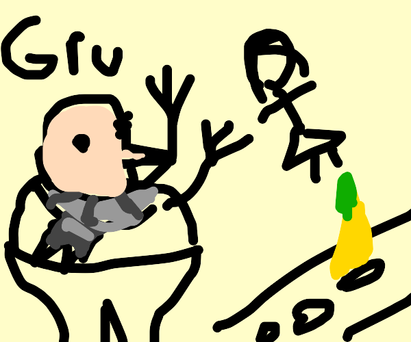 Gru throws woman in road of bananas