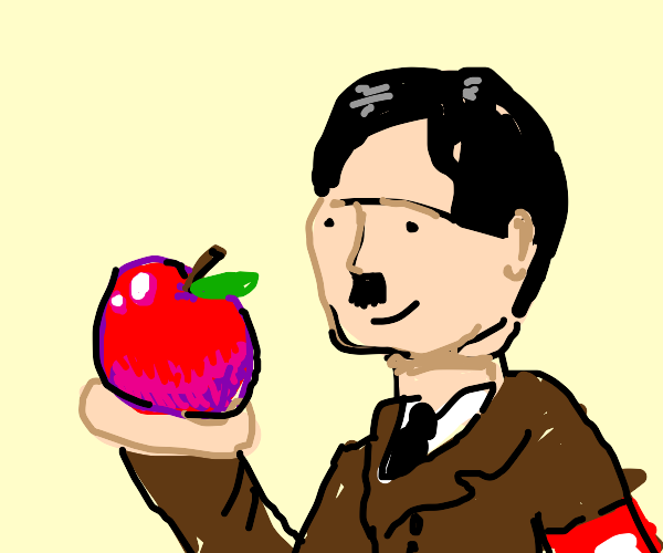Hitler holding an apple