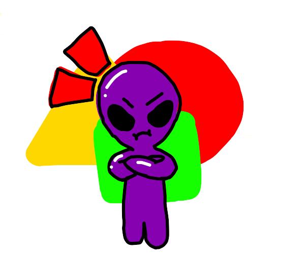 Frustrated purple alien boy