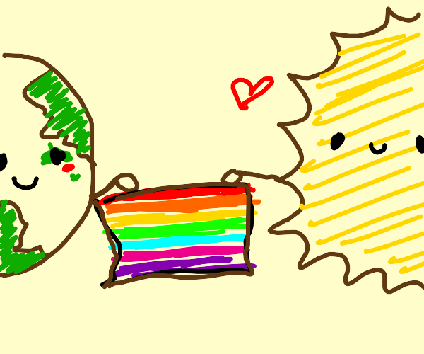 Earth and Sun happy with pride flag