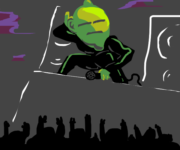 Lime Man stands before adoring fans