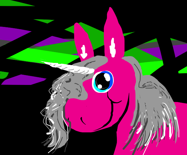 Pink horse with Gray hair