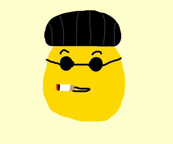 Emoji with hat, sunglasses, and cigarette