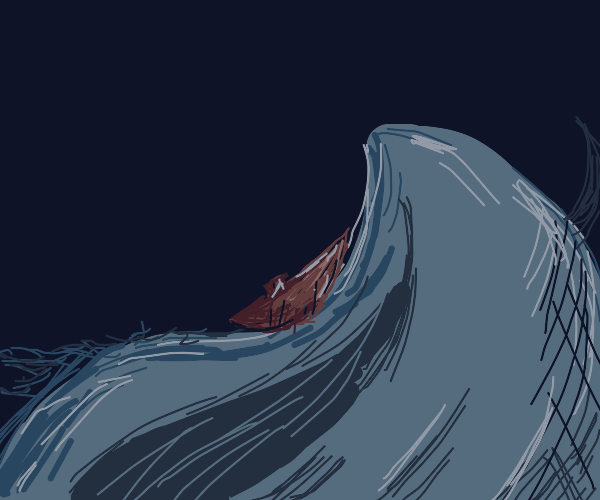 Big wave and little boat