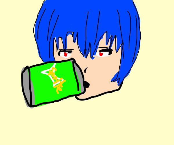 Rei Ayanami drinking soda