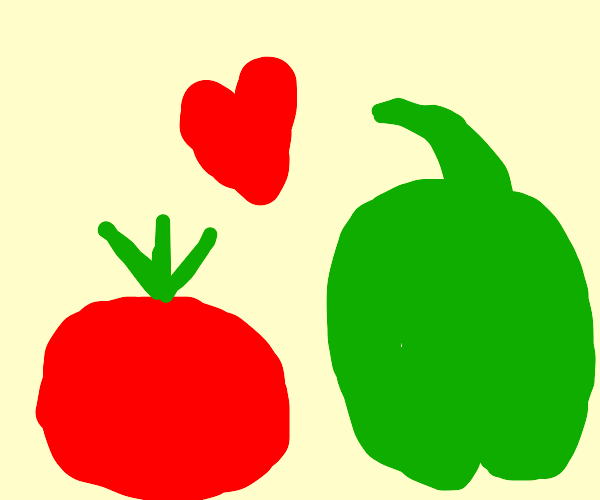 A tomato and pepper fall in love