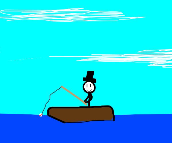 Fisherman wearing a Top Hat