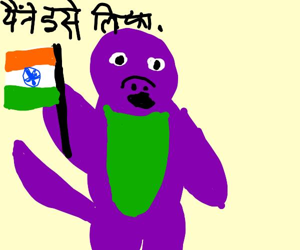 Barney the Dinosaur steals India Flag
