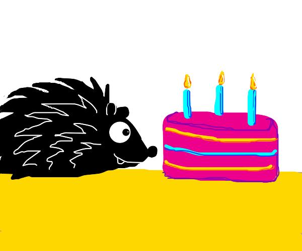 Black hedgehog's birthday cake