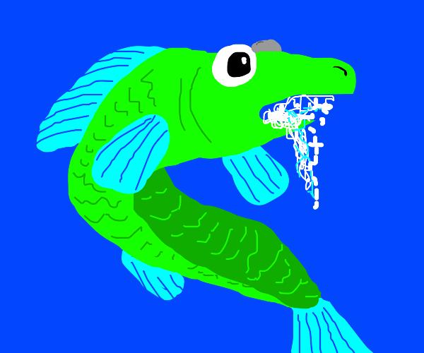 Green fish foaming at mouth
