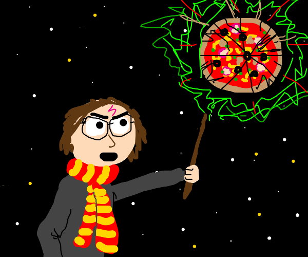Angry Harry Potter destroys space pizza.
