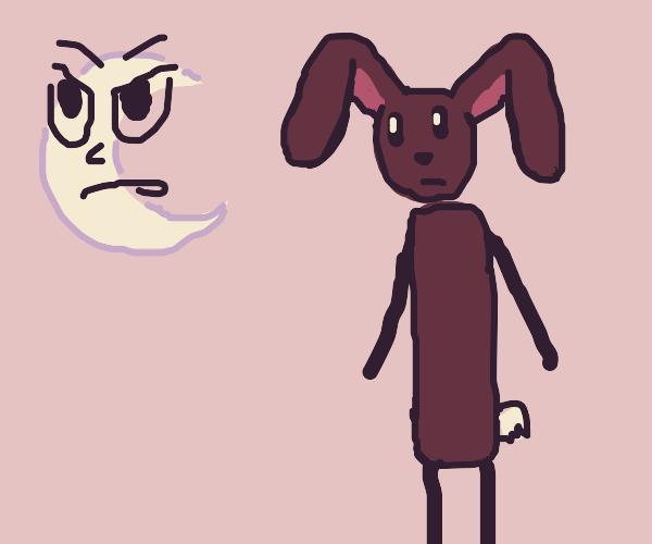 purple bunny guy and angry moon